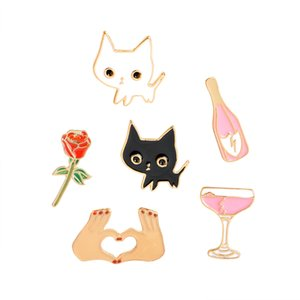 Champagne Coupe Saucer Rose Flower Heart broches alfileres Forma White Cat Black Cat Pines de solapa Animal Broche