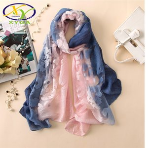 1PC 2018 New Lace Gradient Women Scarf Printed Thin Summer Spring Female Lady Pashmina Shawls Wrap Soft Lace Long Scarves Y18102010