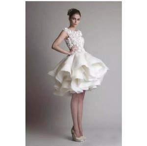Vestido de novia de encaje corto Krikor Jabotian 2019 mangas casquillo espalda longitud de rodilla Una línea de organza vestidos de novia vestidos árabes por encargo