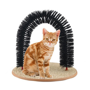 New Arrival Arch Pet Cat Self Groomer With Round Fleece Base Cat Toy Brush Toys For Pets Scratching Devices Quick Clean Promotion