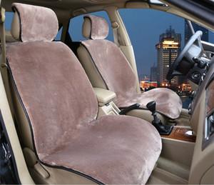 Cojín de asiento delantero Cojines de asiento de automóvil de lujo de invierno Lana de felpa ABB Cloth Protector de asiento de automóvil Universal Negro