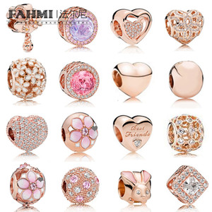 FAHMI 100% 925 Sterling Silver Charm Rose Gold Beads Cherry Blossoms Rabbit Heart Shaped Temperament Exquisite Fashion Ladies Jewelry