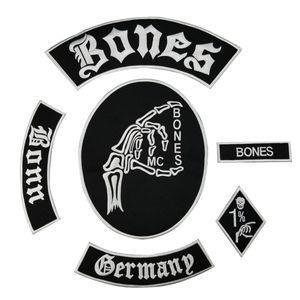 Büyük indirim! Kemik Kafatası Işlemeli Yama Tam Geri Boyutu için Ceket Demir On Giyim Biker Yelek Yama Rocker Yama Ücretsiz Gemi