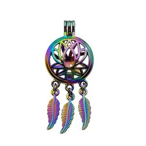 5pcs Rainbow Color water lily Dreamcatcher Pearl Cage Locket Pendant Essential Oil Diffuser DIY Jewelry Locket For Oyster Pearl