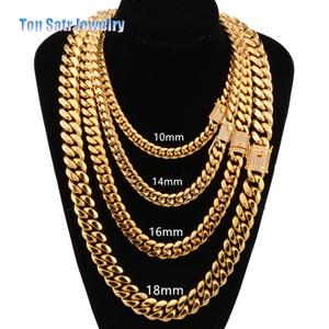 8mm / 10mm / 12mm / 14mm / 16mm joyería de acero inoxidable chapado en oro de 18 quilates pulido de alta Cubic Zirconia cadena de cierre de Miami cubano Enlace collar de los hombres