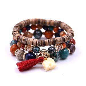 Piuttosto Ethnic Bracciale Bohemian Elephant fascino braccialetti dei braccialetti Pulseras Mujer Braccialetto a più strati Splendidamente