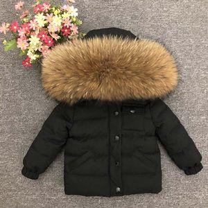 Детская Верхняя Одежда Зимние Куртки Малыша Утолщение Вниз Пальто Девочка Мальчик Большой Енот Меховая Одежда Ветрозащитный Snowsuit Парки