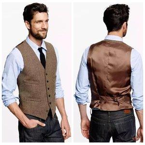 2021 Stile Inghilterra agricoli dell'annata Brown Tweed sposo Gilet Slim Fit Tailor su ordine del partito Groomsmen Gilet Vest per gli uomini Groomsman Cheap