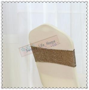 Whosesales 무료 배송 100PCS Sequin Chair Sashes 연회 파티 장식 모든 스팽글 / Glitz Brown chair bows