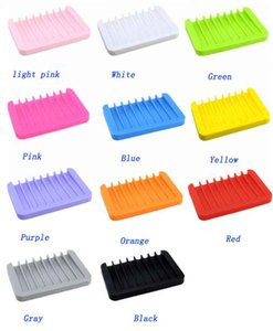 Silikon sabun yemekler banyo sabunu sahipleri Vaka Çok renkli su drenaj antiskid tasarımı 12 renk 11.5 * 8 * 1cm seçebilir