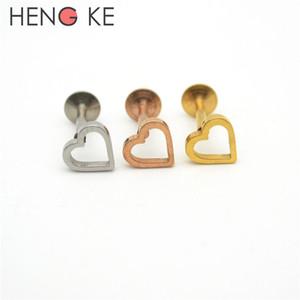 Love Heart Labbro Labret Trago Cartilagine Orecchino Labbro superiore Bar Stud Cristallo elicoidale filettato internamente in acciaio inossidabile 316L