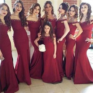 Сексуальное платье невесты с вырезом в виде лодочки Бордовые платья из бисера с отворотами с раздельным вырезом и скользящим шлейфом Свадебные наряды и платья для женских платьев