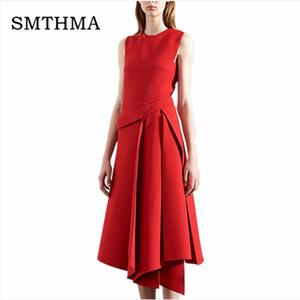SMTHMA 2018 Весна взлетно-посадочной полосы дизайнер платье женщин высокого качества элегантный рукавов черный /красный нерегулярные нижнее платье Y1891001