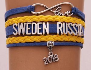 Braccialetto Infinity Love Svizzera Svezia Russia 2018 coppa del mondo gioielli in pelle bandiera nazionale donne uomini braccialetti regalo per tifosi di calcio