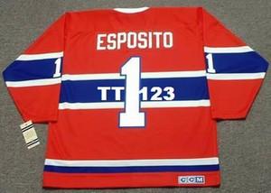 Hombres # 1 TONY ESPOSITO Montreal Canadiens 1968 CCM Vintage T Away Hockey Jersey o personalizado cualquier nombre o número retro Jersey