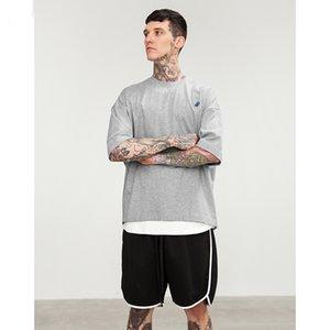 Drop Shoulder Back Folds Design o-pescoço casual solto t-shirt vestido marca roupas de alta rua top tees