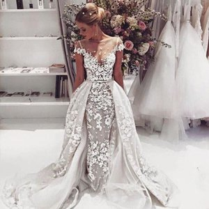 Abiti da sposa floreali 3D Sheer Neck Cap Sleeves Illusion Bodice Appliques Tulle Over Skirt Backless Wedding Gowns Elegante abito da sposa