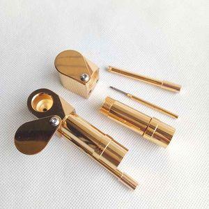 Messing-Proto-Rohr-Zerstäuber-Metallpfeifen-goldene Farbe Ultimate Tool-Tabak-Zigaretten-Hand trockene Kräuterpfeifen-Öl-Kraut versteckter Schüsselvorrat