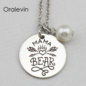 Diy صنع ماما الدب ملهمة اليد مختوم محفورة سحر قلادة قلادة معدنية فضية اللون مجوهرات ، 18 بوصة ، 22 ملليمتر ، 10 قطعة / الوحدة ، # LN2406
