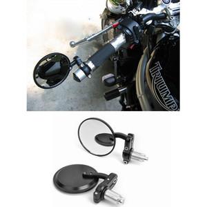 "2020 Motosiklet 7/8 ""Gidon 3"" Yuvarlak Uç Ayna Motosiklet Dikiz Aynası Cafe Racer Bobber Clubman Siyah DHL UPS Ücretsiz Kargo"