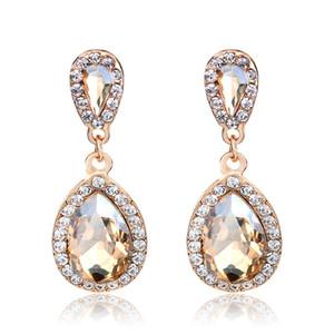 Longues boucles d'oreilles en cristal de bijoux de mode de mariage Vintage Drop Champagne Boucles d'oreilles pour les femmes