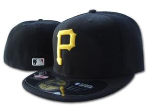 Pirates homme classique sur le terrain chapeau couleur noir mat ajusté Brim embroiered or p lettre logo fans de baseball Hat pirates plein Chapeu fermé