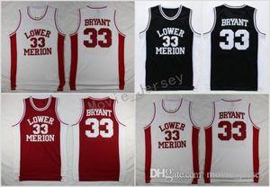 Cheap 33 Lower Merion High School baloncesto Jersey 33 Team Red Blanco Negro camisetas de baloncesto cosidas