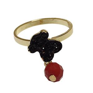 Toda la venta Top Quality Black Little Bear Red Crystal Ring Rose Gold Color Austríaco Cristales Tallas Grandes Joyería de Moda Anillo de Dedo Para Las Mujeres