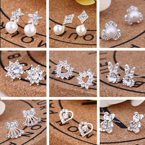 120pairs / lot, 35 estilos Coreano Moda Criativa diamante New Brincos Pérola Hot venda de acessórios brincos jóias T2C134