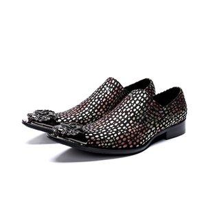 Novo Italiano Apontou Toe Mens Vestido Sapatos de Casamento Trabalho Escritório Casual Partido Sapato Ponta de Metal Moda Masculina sapatos