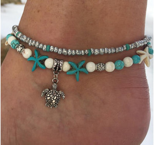 Fashion Sea Turtles Perle d'imitazione Starfish Charms Bracciali Cavigliera Per le donne Bohemian Summer Foot Chain Jewelry Gifts