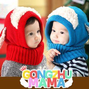 Bebek Şapka Kış Şapkalar Kızlar Için Çocuklar Tavşan Uzun Kulak Kap Yumuşak Tığ Bebek Kapüşonlu Şapka Eşarp Set Çocuk ...