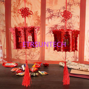Traditional Chinese Dragon Lantern Red Wooden Candy Box Hollow Out Wedding Party Favors And Gifts QW8004