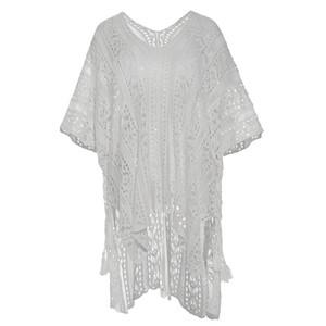 Bohoartist aushöhlen Weiße Bluse Frauen-Hülsen-Hemd-Mädchen-beiläufige Tuniken mit V-Ausschnitt Halbarm Holidays elegante
