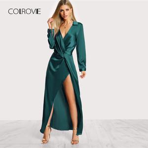 COLROVIE Verde profundo cuello en V Twist Sexy vestido de mujer 2018 otoño manga larga delgado vestido de fiesta chica elegante noche Maxi vestidos