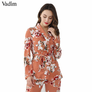 Vadim Frauen Vintage Blumendruck Blazer Kerbkragen Schärpen Langarm Mantel Casual Oberbekleidung Casaco feminine Tops CT1452