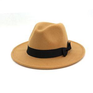 12 Sólido fieltro de lana en color Negro Panamá sombrero de Fedora del Bowknot banda decorada mujeres para hombre de ala ancha de jazz del casquillo del sombrero del sombrero flexible