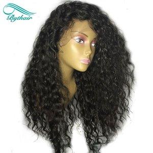 Bythair natürliche gewellte 13 x 6 tiefe Trennung Lace Front Echthaar Perücken Deep Wave Pre-gerupft glueless Lace Front Perücke mit Baby Haare