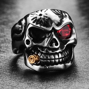Punk Bullet Skull Men Anello Skeleton Red CZ Stone Eye Anelli per Mens Hyperbole Crystal Jewelry