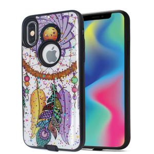 7 8 artı Samsung S9 artı B için iphone 6 için Hibrid zırh takım elbise TPU + PC telefon kılıfı Kapak oluk cilt boyalı tasarım