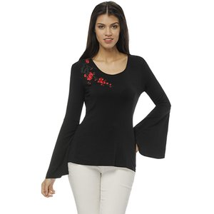 Spring Autumn Women's Plum blossom Camiseta de bordado O-Neck Camiseta de cuerno Moda negra Camiseta blusa Bodycon Camiseta Top Blusa S M L XL