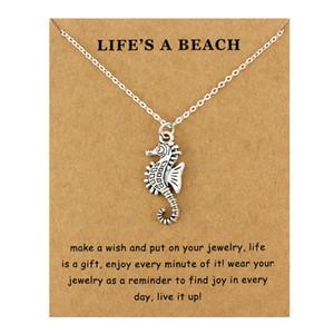 Seahorse Hippocampus Beach Ocean Pendenti Collane Onde Stella marina Sea Turtle Sand Dollar Mermaid Donna Uomo Gioielli di moda Regalo