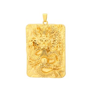 Dragon Spit Beads Gold Filled Heavy Dragon Pendant Auspicioso Lucky Amulet Punk Necklace for Men / Women Jewelry