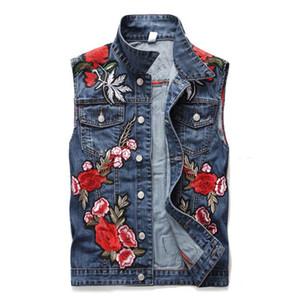 Newsosoo Moda Homens Denim Vest Com Flor Rosa Bordado Patchwork Fino Jeans Colete Masculino Jaquetas Sem Mangas Tamanho M-XXXL