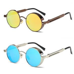 UV400 Gothic Steampunk Gafas de sol para hombre Recubrimiento Gafas de sol redondas Círculo Gafas de sol Retro Vintage Gafas Masculino Sol