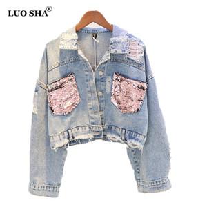 LUOSHA Donna Autunno Rosa Paillettes Tasche strappate Denim Giacche Foro femminile Jeans casual Tops Jacket Donna Autum Outwear 2018