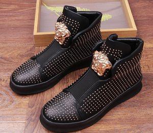 Новый стиль высокое качество высокий верх с золотыми заклепками шипы украшения Париж стиль дизайн повседневная плоская обувь