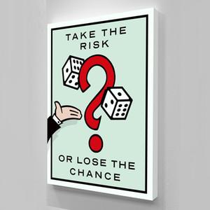 Ungerahmt / das Risiko eingehen, Alec Monopoly Ölgemälde, auf Leinwand Graffiti Kunst Wanddekoration, Bürodekoration, kommerzielle Dekoration