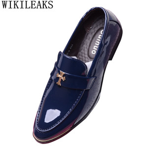 hommes chaussures bout pointu robe chaussures hommes mocassins en cuir verni oxford pour mariage formel mariage zapatos hombre