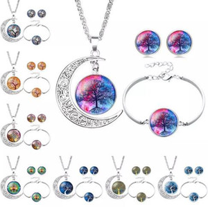 Tree of Life Necklace Bracelet Stud Earrings Jewelry Sets Glass Cabochon Necklace Chains Fashion Jewelry for Women Kids